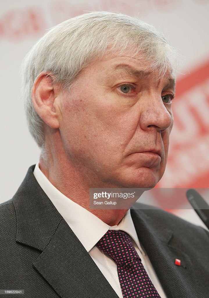 <a gi-track='captionPersonalityLinkClicked' href=/galleries/search?phrase=Michael+Sommer&family=editorial&specificpeople=228298 ng-click='$event.stopPropagation()'>Michael Sommer</a>, head of the German Federation of Labour Unions (DGB), speaks to the media with German Chancellor Angela Merkel (not pictured) after talks on January 15, 2013 in Berlin, Germany. The two met to discuss policy issues ahead of German federal elections scheduled for later this year.