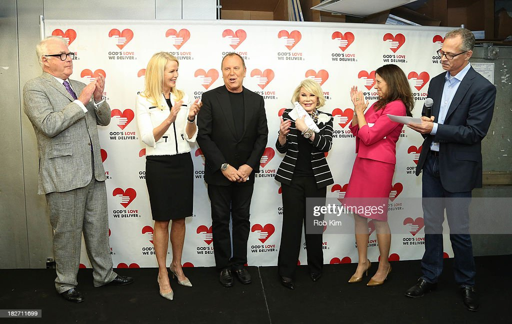 Michael Sonnett, Blaine Trump, Michael Kors, Joan Rivers, Karen Pearl and Scott Bruckner attend the Expansion Project Groundbreaking Ceremony at God's Love We Deliver on October 2, 2013 in New York City.