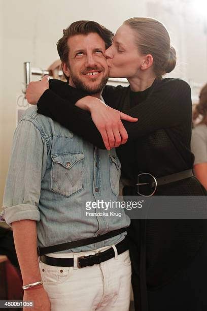 Michael Sontag with a model attend the Lavera Showfloor At MercedesBenz Fashion Week Berlin Spring/Summer 2016 on July 09 2015 in Berlin Germany