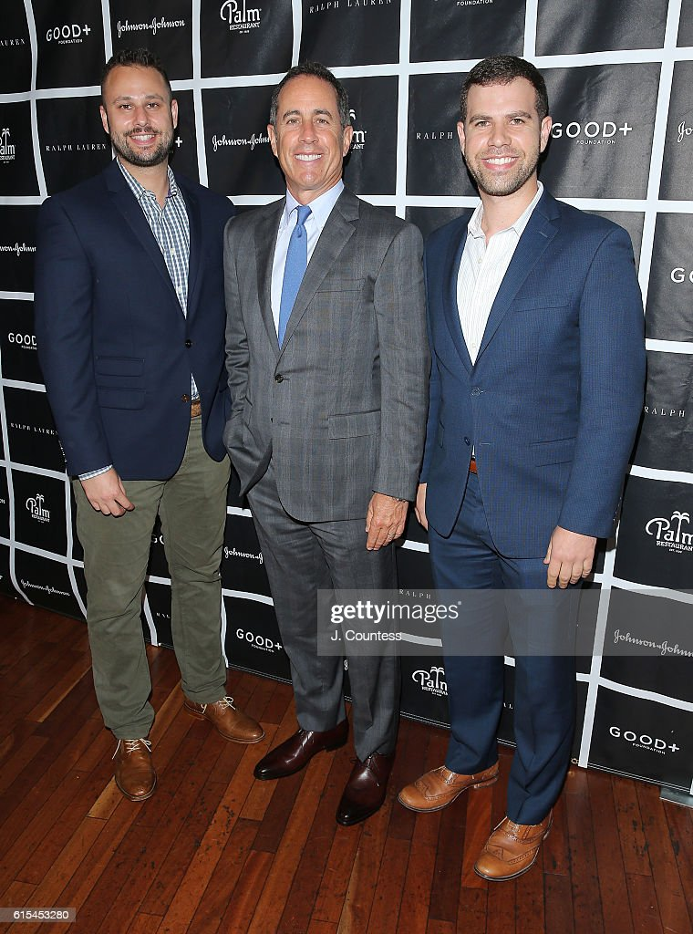 Michael Srour of Crackle, actor/comedian Jerry Seinfeld and Jason Sorger of Crackle attend the 2016 Foundation Good+ New York Fatherhood Luncheon at The Palm Tribeca on October 18, 2016 in New York City.