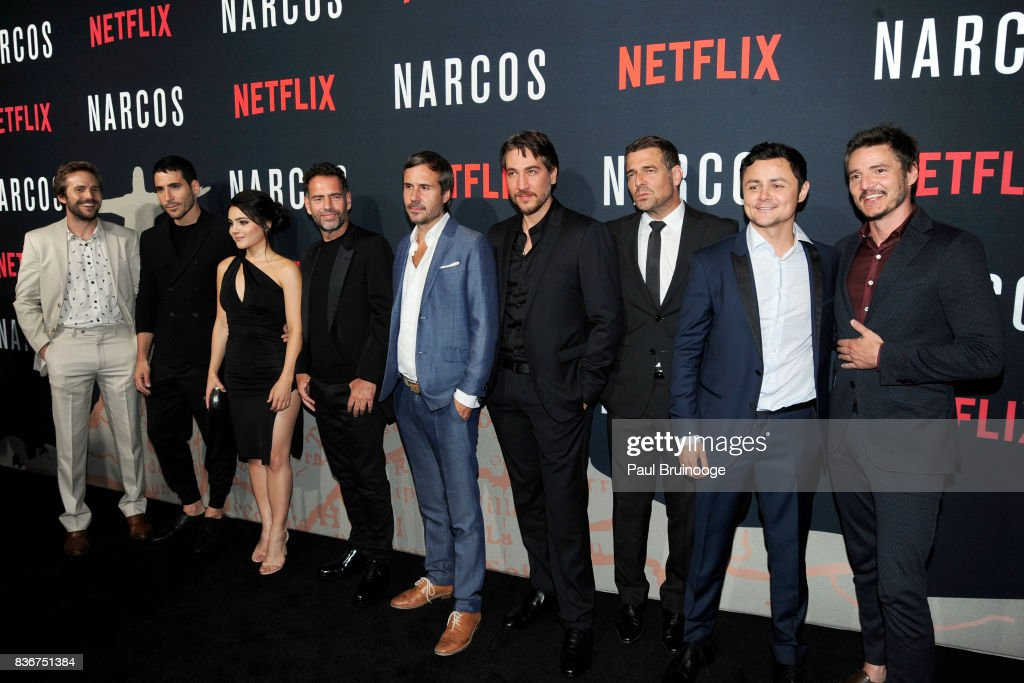 Michael Stahl-David, Miguel Angel Silvestre, Andrea Londo, Francisco Denis, Andres Baiz, Alberto Ammann, Pepe Rapazote, Arturo Castro and Pedro Pascal attend 'Narcos' Season 3 New York Screening - Arrivals at AMC Lincoln Square 13 Theater on August 21, 2017 in New York City.