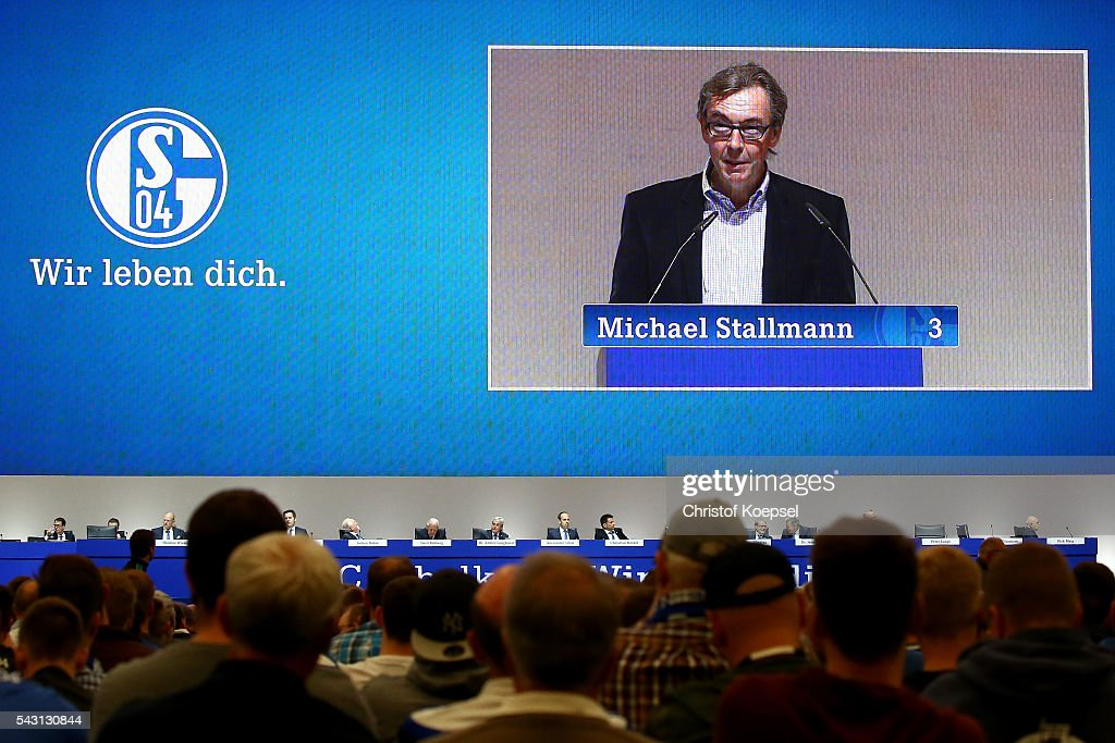 Michael Stallmann candidates for the supervisory board during the FC Schalke 04 general assembly at Veltins Arena on June 26, 2016 in Gelsenkirchen, Germany.