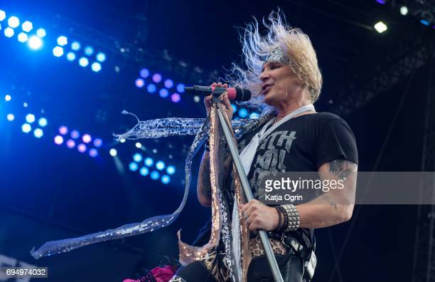 Michael Starr of Steel Panther performing live on Day 3 of Download Festival at Donington Park on June 11 2017 in Castle Donington UK