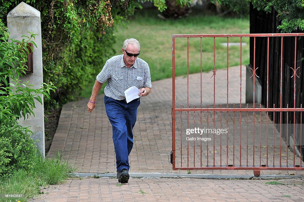 Michael Steenkamp, Reeva Steeenkamp's uncle speaks to the media on February 15, 2013 in Port Elizabeth, South Africa. Reeva Steenkamp was allegedly shot dead by Oscar Pistorius on February 14, 2013. She died on the spot.