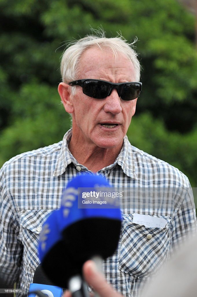 Michael Steenkamp, Reeva Steeenkamp's uncle speaks to the media on February 15, 2013 in Port Elizabeth, South Africa. Reeva Steenkamp was allegedly shot dead by Oscar Pistorius on February 14, 2013. She died on the spot.
