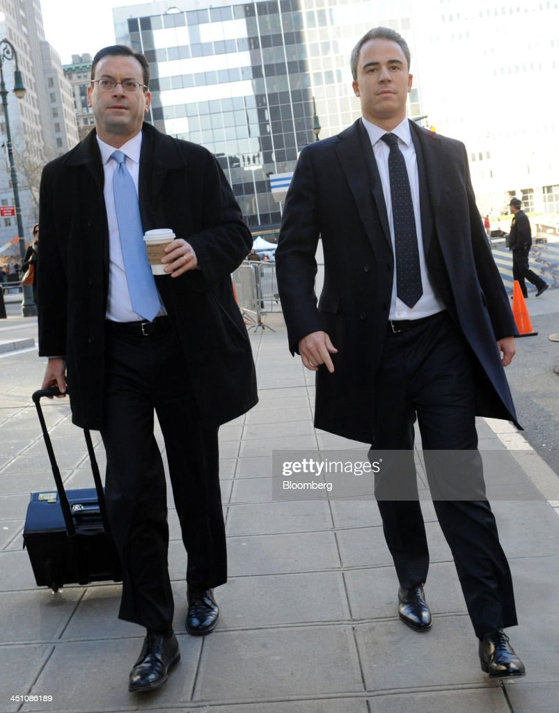 Michael Steinberg, a portfolio manager with SAC Capital Advisors LP, right, arrives with attorney Barry Berke at federal court in New York, U.S., on Thursday, Nov. 21, 2013. Steinberg reaped 'big money' on illicit tips on Dell Inc. and Nvidia Corp. funneled to him by his analyst, Jon Horvath, a prosecutor told a Manhattan federal jury. Photographer: Louis Lanzano/Bloomberg via Getty Images