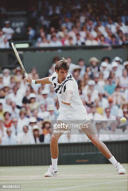 Michael Stich of Germany during the Men's Singles Final of the Wimbledon Lawn Tennis Championship against Boris Becker on 7 July 1991 at the All...
