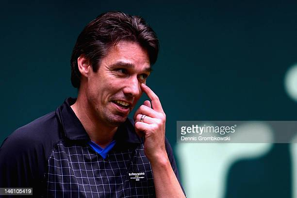 Michael Stich of Germany reacts during his match with Martina Navratilova of USA against Stefan Edberg of Sweden and Anastasia Myskina of Russia...