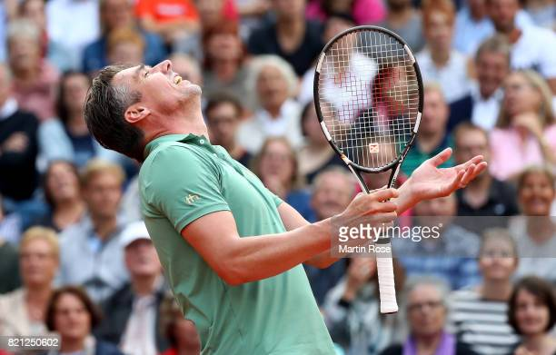 Michael Stich of Germany reacts during the Manhagen Classics against Michael Stich of Germany at Rothenbaum on July 23 2017 in Hamburg Germany