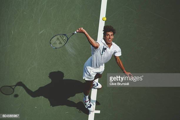 Michael Stich of Germany serves to Byron Black during their Men's Singles Third round match of the United States Open Tennis Championship on 1...