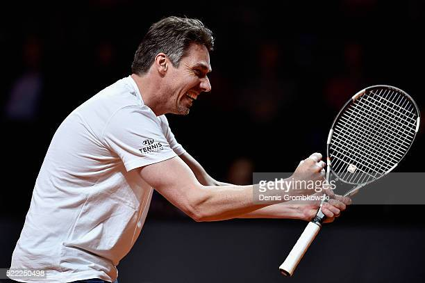 Michael Stich reacts during a show match during Day 1 of the Porsche Tennis Grand Prix at PorscheArena on April 18 2016 in Stuttgart Germany