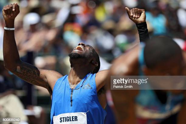 Michael Stigler reacts after placing second in the Men's 400m Hurdles Final during Day 4 of the 2017 USA Track Field Outdoor Championships at Hornet...