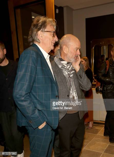 Michael Stipe and Paul Smith attend the launch of the Paul Smith x REM collection celebrating the 25th anniversary of REM's album 'Automatic For The...