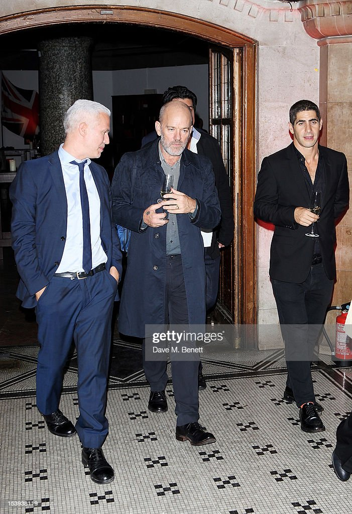 <a gi-track='captionPersonalityLinkClicked' href=/galleries/search?phrase=Michael+Stipe&family=editorial&specificpeople=178318 ng-click='$event.stopPropagation()'>Michael Stipe</a> attends a private dinner hosted by Matthew Slotover and Amanda Sharp to celebrate the Frieze Projects and the Emdash Awards 2012 at Central St. Martin's on October 11, 2012 in London, England.