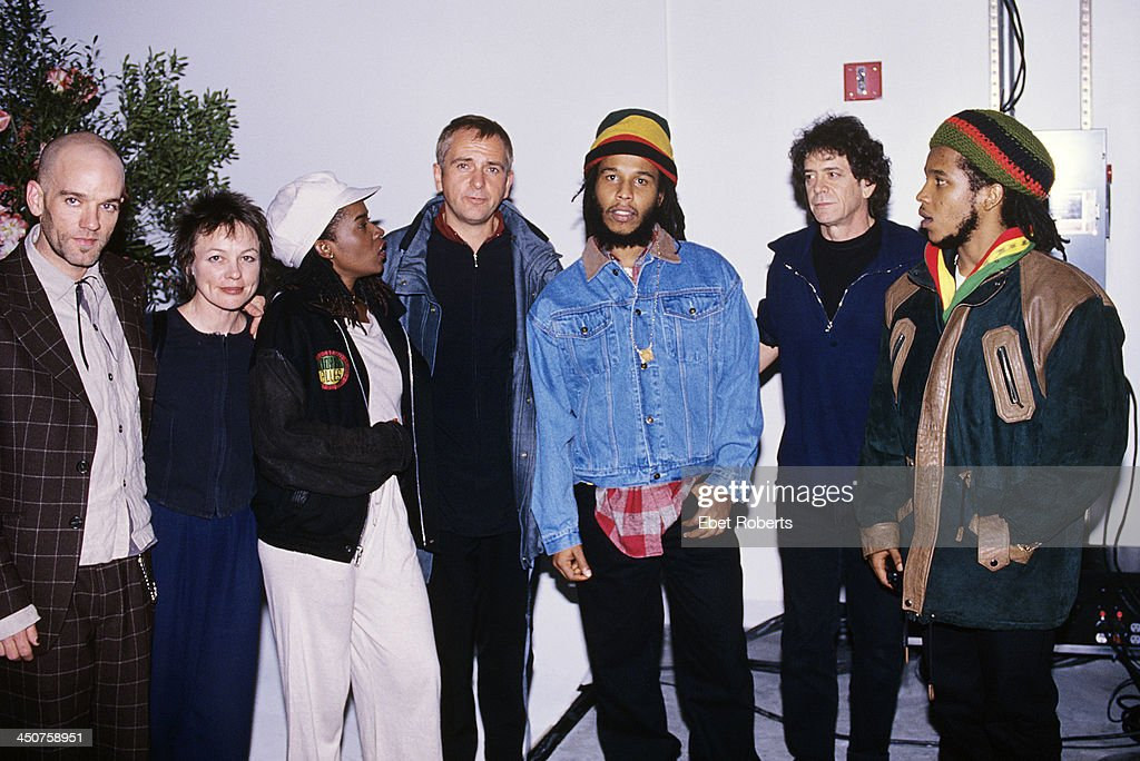 Michael Stipe Laurie Anderson Sharon Marley Peter Gabriel Ziggy Marley Lou Reed and Stephen Marley at a Witness Party at Chelsea Piers in New York...