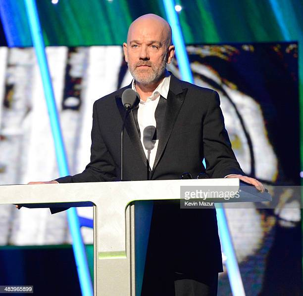 Michael Stipe speaks onstage at the 29th Annual Rock And Roll Hall Of Fame Induction Ceremony at Barclays Center of Brooklyn on April 10 2014 in New...