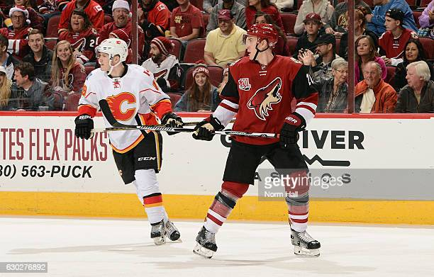 Michael Stone of the Arizona Coyotes and Matthew Tkachuk of the Calgary Flames skate during the first period at Gila River Arena on December 19 2016...