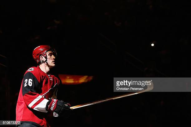 Michael Stone of the Arizona Coyotes skates on the ice following the NHL game against the Calgary Flames at Gila River Arena on February 12 2016 in...