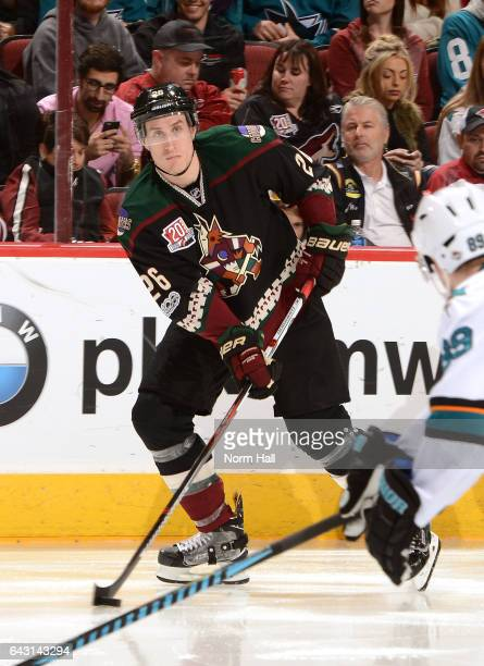 Michael Stone of the Arizona Coyotes skates with the puck against the San Jose Sharks at Gila River Arena on February 18 2017 in Glendale Arizona