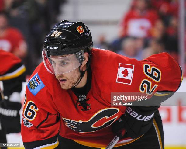 Michael Stone of the Calgary Flames in action against the Anaheim Ducks in Game Four of the Western Conference First Round during the 2017 NHL...