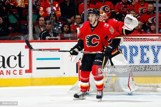 Michael Stone of the Calgary Flames skates against the Los Angeles Kings during an NHL game on February 28 2017 at the Scotiabank Saddledome in...