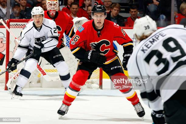 Michael Stone of the Calgary Flames skates against the Los Angeles Kings during an NHL game on March 29 2017 at the Scotiabank Saddledome in Calgary...