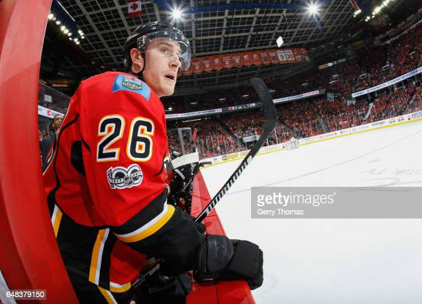 Michael Stone of the Calgary Flames watches the action against the New York Islanders at Scotiabank Saddledome on March 5 2017 in Calgary Alberta...