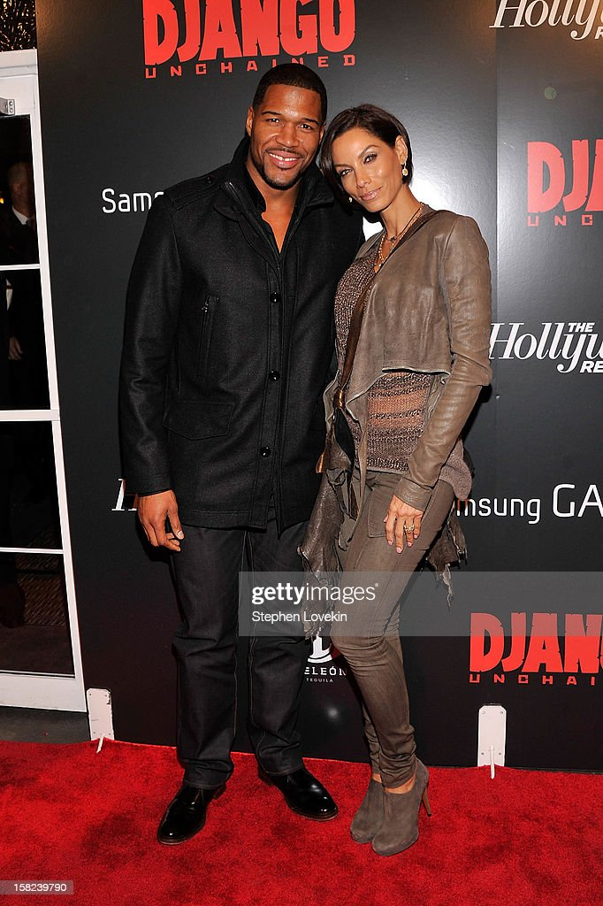 <a gi-track='captionPersonalityLinkClicked' href=/galleries/search?phrase=Michael+Strahan&family=editorial&specificpeople=210563 ng-click='$event.stopPropagation()'>Michael Strahan</a> and Nicole Murphy attends a screening of 'Django Unchained' hosted by The Weinstein Company with The Hollywood Reporter, Samsung Galaxy and The Cinema Society at Ziegfeld Theater on December 11, 2012 in New York City.