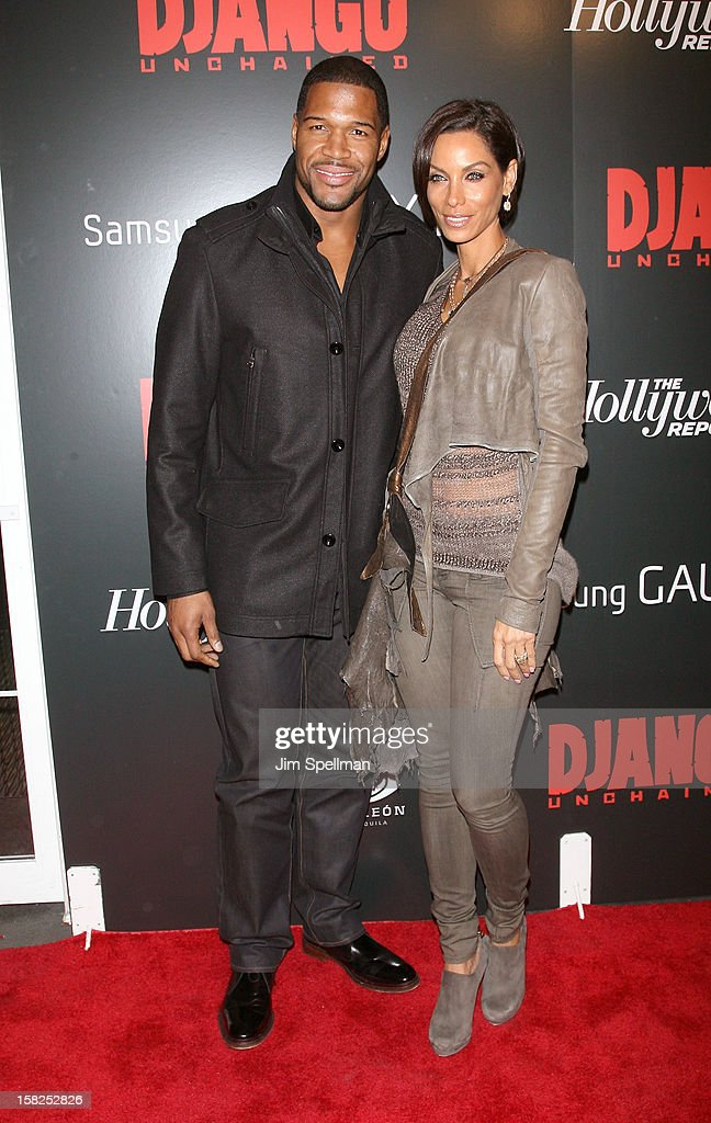 Michael Strahan and Nicole Murphy attends The Weinstein Company with The Hollywood Reporter, Samsung Galaxy & The Cinema Society screening of 'Django Unchained' at the Ziegfeld Theatre on December 11, 2012 in New York City.