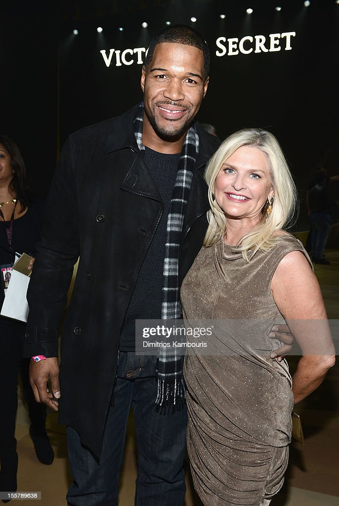 Michael Strahan and Victoria's Secret CEO Sharen Turney attends the 2012 Victoria's Secret Fashion Show at the Lexington Avenue Armory on November 7, 2012 in New York City.