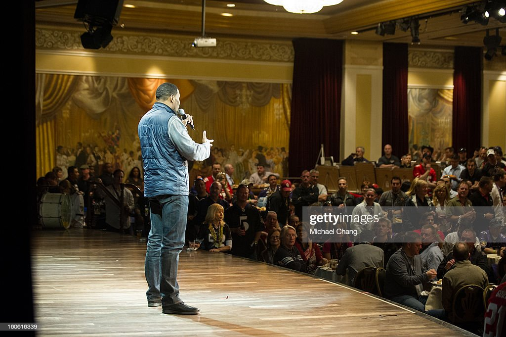 Michael Strahan answers questions from the audience during the Ultimate Super Bowl Tailgate Party hosted by Michael Strahan at Harrah's Casino on February 3, 2013 in New Orleans, Louisiana.