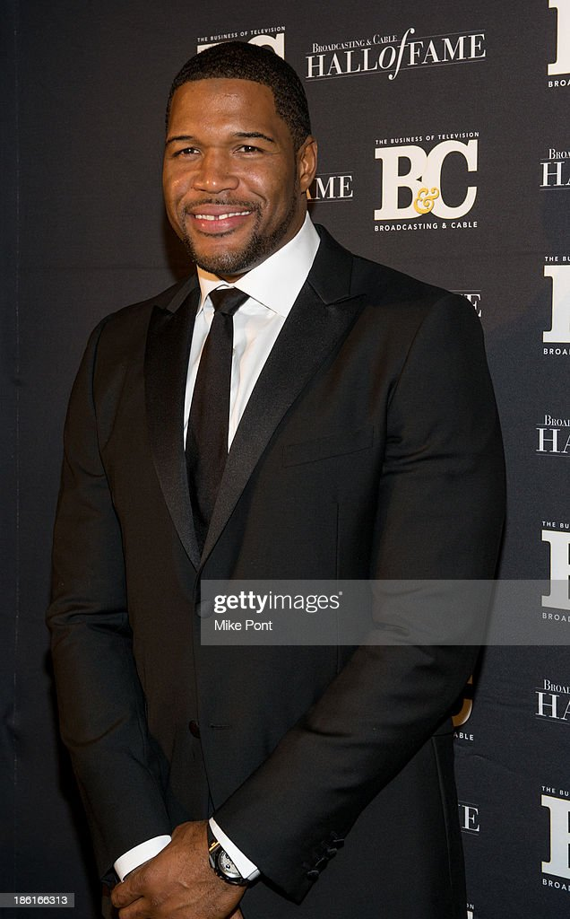 <a gi-track='captionPersonalityLinkClicked' href=/galleries/search?phrase=Michael+Strahan&family=editorial&specificpeople=210563 ng-click='$event.stopPropagation()'>Michael Strahan</a> attends the Broadcasting and Cable 23rd Annual Hall of Fame Awards Dinner at The Waldorf Astoria on October 28, 2013 in New York City.
