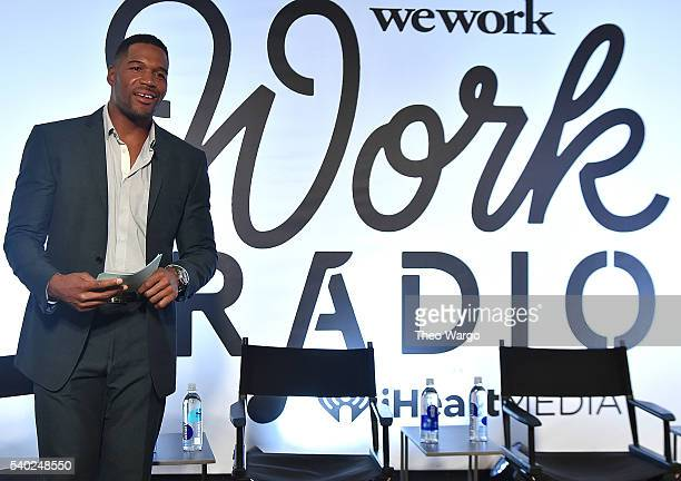 """Michael Strahan attends the iHeartMedia and WeWork host launch event to introduce new partnership and """"Work Radio"""" at WeWork's New York City..."""