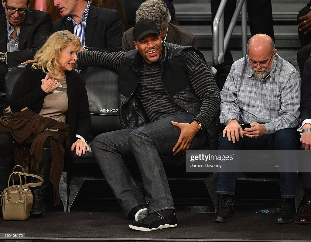 <a gi-track='captionPersonalityLinkClicked' href=/galleries/search?phrase=Michael+Strahan&family=editorial&specificpeople=210563 ng-click='$event.stopPropagation()'>Michael Strahan</a> attends the Miami Heat vs Brooklyn Nets game at Barclays Center on January 30, 2013 in the Brooklyn borough of New York City.