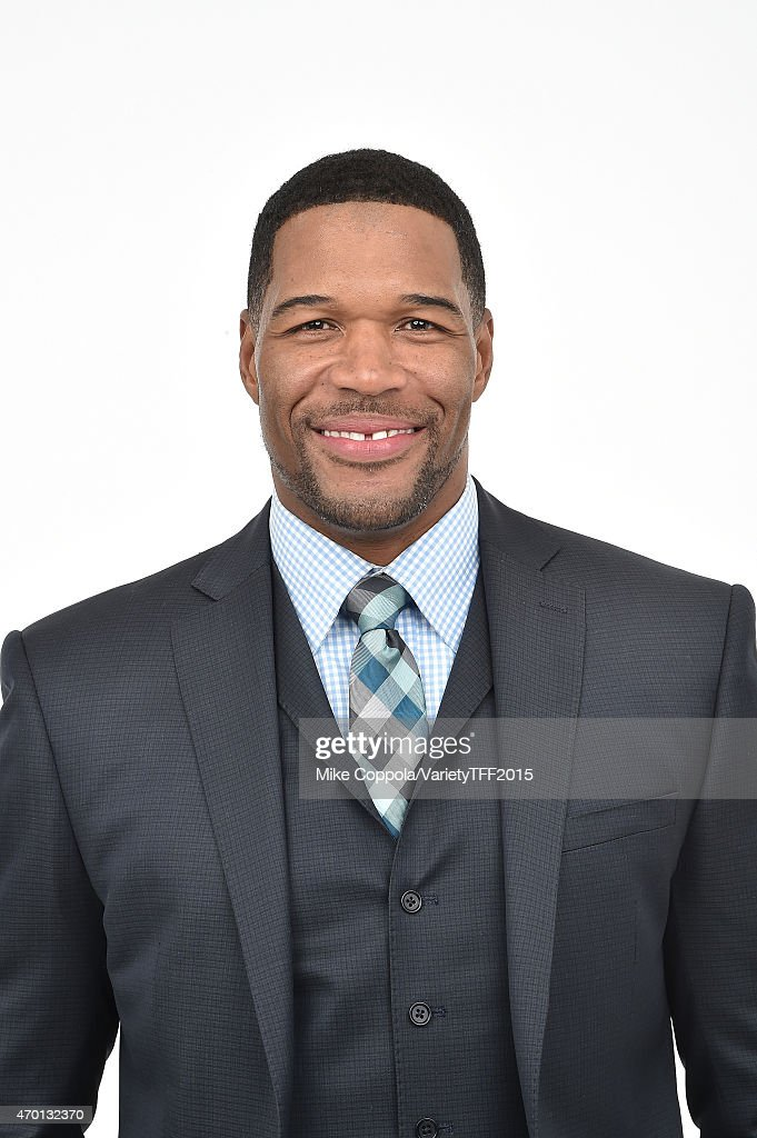 <a gi-track='captionPersonalityLinkClicked' href=/galleries/search?phrase=Michael+Strahan&family=editorial&specificpeople=210563 ng-click='$event.stopPropagation()'>Michael Strahan</a> from 'Play it Forward' appears at the 2015 Tribeca Film Festival Getty Images Studio on April 16, 2015 in New York City.