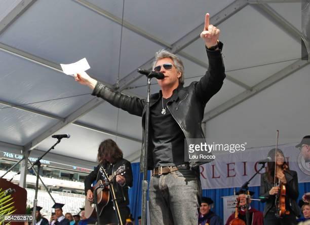 AMERICA Michael Strahan interviews Jon Bon Jovi before he addresses the 2017 graduating class of Fairleigh Dickinson University The interview airs on...