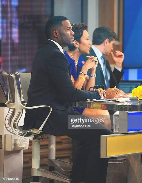 Michael Strahan is seen on the set of 'Good Morning America' on April 21 2016 in New York City