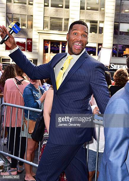 Michael Strahan seen outside ABC's 'Good Morning America' in Times Square on July 12 2016 in New York City