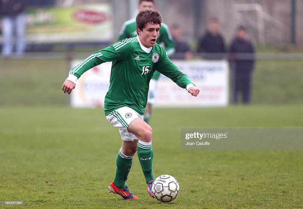 Michael Strein of Germany in action during the Tournament of Montaigu qualifier match between U16 Germany and U16 England at the Stade Saint Andre D'Ornay on March 30, 2013 in La Roche-sur-Yon, France.