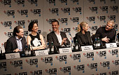 Michael Stuhlbarg Katherine Waterston Michael Fassbender Kate Winslet and Jeff Daniels attend the 'Steve Jobs' Press Conference during the BFI London...