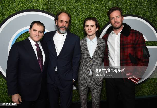 Michael Stuhlbarg Luca Guadagnino Timothee Chalamet and Armie Hammer attend the 2017 GQ Men of the Year party at Chateau Marmont on December 7 2017...