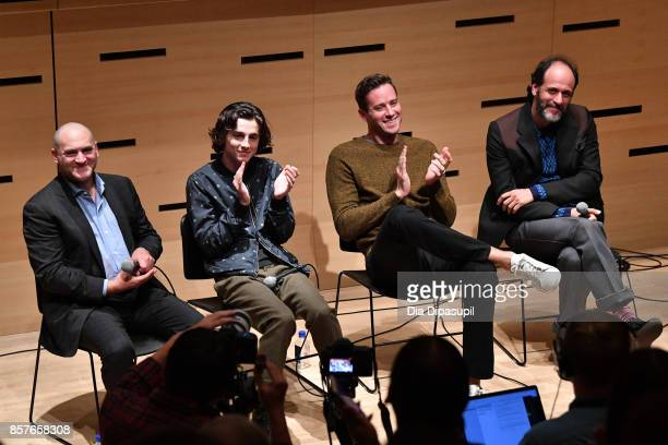 Michael Stuhlbarg Timothee Chalamet Armie Hammer and director Luca Guadagnino attend NYFF Live Making 'Call Me by Your Name' during the 55th New York...