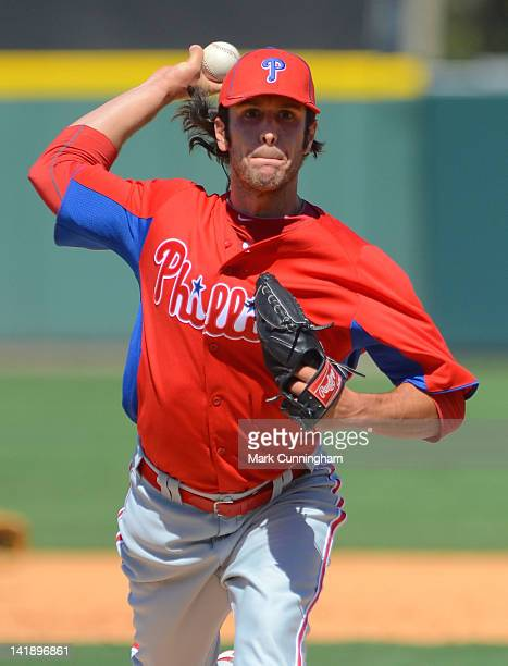 Michael Stutes of the Philadelphia Phillies pitches during the spring training game against the Detroit Tigers at Joker Marchant Stadium on March 25...