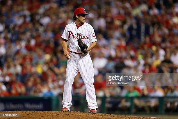 Michael Stutes of the Philadelphia Phillies prepares to throw a pitch during the game against the Boston Red Sox at Citizens Bank Park on May 30 2013...