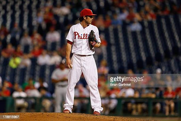 Michael Stutes of the Philadelphia Phillies prepares to throw a pitch during the game against the Washington Nationals at Citizens Bank Park on June...