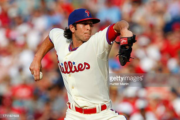 Michael Stutes of the Philadelphia Phillies throws a pitch during a game against the New York Mets at Citizens Bank Park on June 22 2013 in...