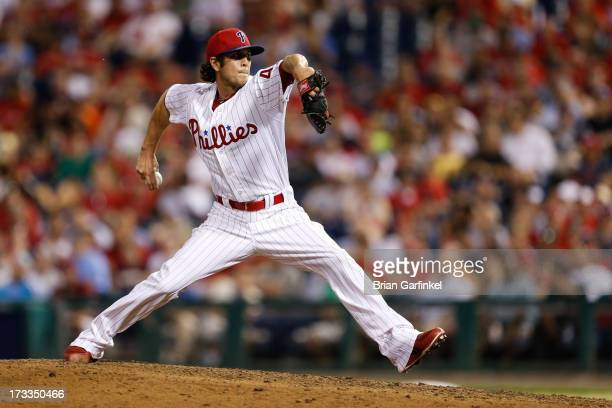 Michael Stutes of the Philadelphia Phillies throws a pitch during the game against the Boston Red Sox at Citizens Bank Park on May 30 2013 in...