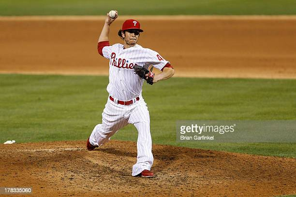 Michael Stutes of the Philadelphia Phillies throws a pitch during the game against the Washington Nationals at Citizens Bank Park on June 17 2013 in...