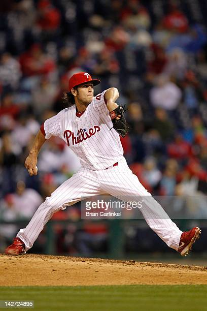 Michael Stutes of the Philadelphia Phillies throws the ball during the game against the Miami Marlins at Citizens Bank Park on April 11 2012 in...