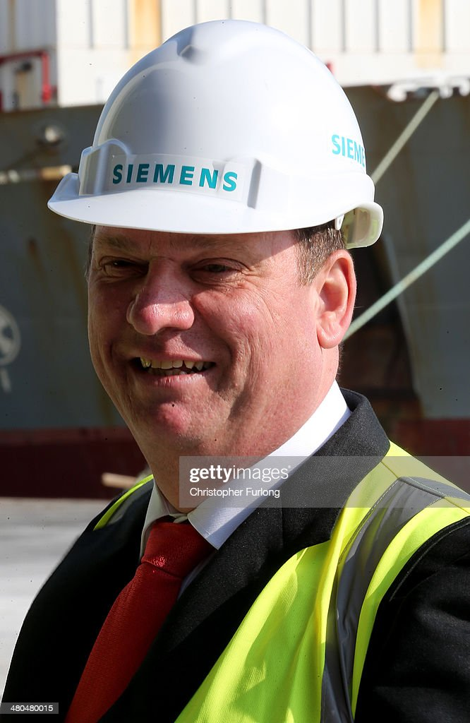 Michael Suess Chief Executive Officer of Siemens Energy tours Alexandra Dock on March 25, 2014 in Hull, England. The global engineering giant Siemens and Associated British Ports are to build a new wind turbine factory at Alexandra Dock in the City of Hull. Siemens are investing GBP 160m and creating 1000 jobs. Associated British Ports are also spending a further GBP 150m in the Green Port Hull development.